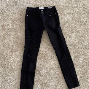 FRAME distressed black jeans